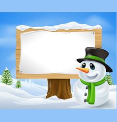 christmas snowman sign vector image