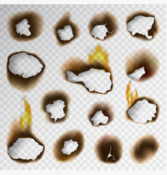 burnt piece burned faded paper hole realistic fire vector image