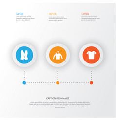 Clothes icons set collection of waistcoat casual vector