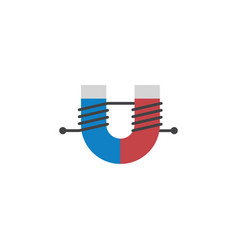 Isolated magnet flat icon attractive force vector