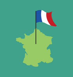 France map and flag french banner and land area vector