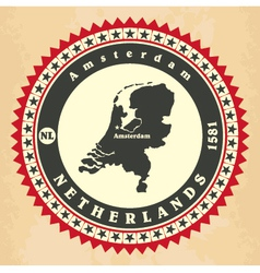 Vintage label-sticker cards of Netherlands vector image