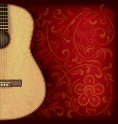 abstract grunge music background with guitar on vector image