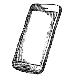 Handdrawn sketch of mobile phone with shadow vector