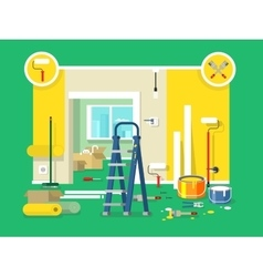 Renovation apartment flat design vector