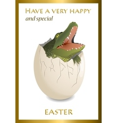 Happy easter funny card crocodile egg vector