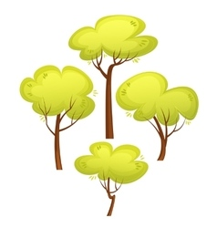 Set of different trees cartoon style summer green vector