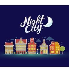 night city landscape on dark blue sky bac vector image