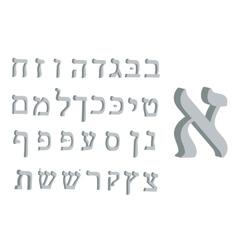 3d letter Hebrew Gray text Hebrew Letters Hebrew vector image