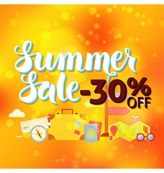 Summer sale 30 off lettering over orange blurred vector