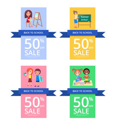Back to school set of colourful posters vector