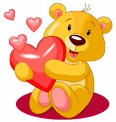 bear heart vector image vector image