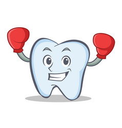 boxing tooth character cartoon style vector image