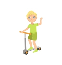 Boy Riding A Scooter Waving vector image