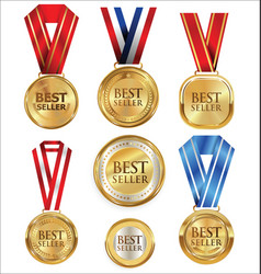 Collection of best seller golden medal and label vector