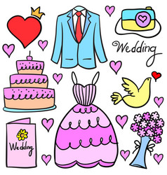 Collection stock of wedding element doodles vector