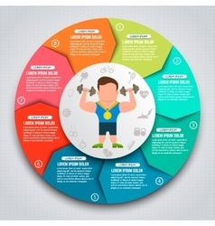Colorful sport infographic elements sportsmen vector