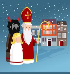 Cute saint nicholas with angel devil old town vector
