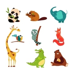 Cute Wild Animal Set of vector image vector image