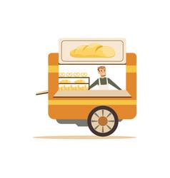 Flat street food cart with sweet buns vector