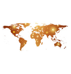 golden political world map with global technology vector image vector image