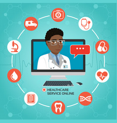 Healthcare service online medical consultation vector