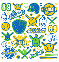 icon and badge set of baseball and softball vector image