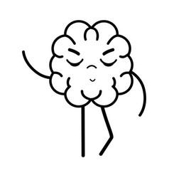 Line icon adorable kawaii brain expression vector