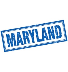Maryland blue square grunge stamp on white vector