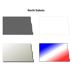 North dakota outline map set vector