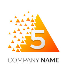 number five symbol on colorful triangle vector image vector image