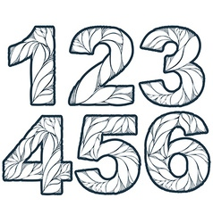 Numeration decorated with leaves 1 2 3 4 5 6 vinta vector