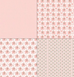Pink elephant patterns vector