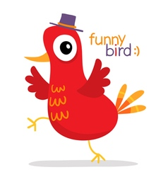 Red bird in hat in cartoon style isolated on white vector image vector image