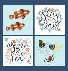 Sea cards set with handdrawn sea animals vector