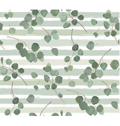Seamless pattern of eucalyptus silver dollar tree vector