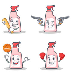 Set of cleaner character with baseball cowboy vector
