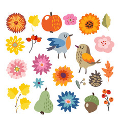 Set of cute hand-drawn autumn fall elements vector