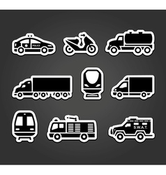 Set of stickers transport symbols vector image vector image