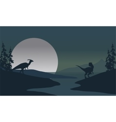 Silhouette of Dilophosaurus and Parasaurolophus vector image