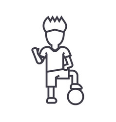 soccer player boy line icon sign vector image vector image