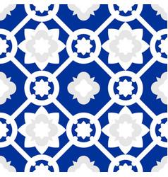 Tile indigo blue decorative floor tiles pattern vector