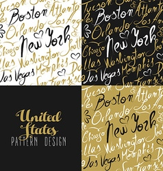 Travel america usa pattern city new york gold vector image