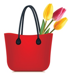 Tulips in shopping bag vector image vector image