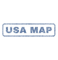Usa map textile stamp vector