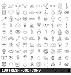 100 fresh food icons set outline style vector image