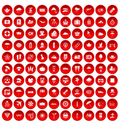100 umbrella icons set red vector