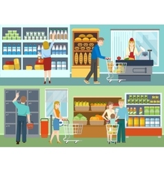Buyers in supermarket concepts vector