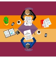 Business people top view workspace background vector