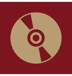 The cd icon compact disk symbol flat vector